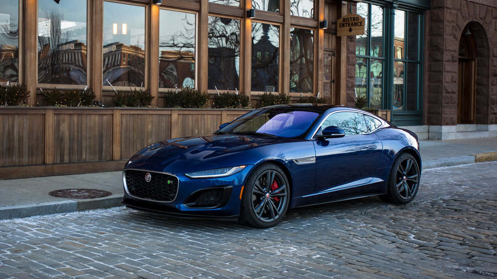 The 2021 Jaguar F-Type R Coupe in metallic Bluefire Blue.